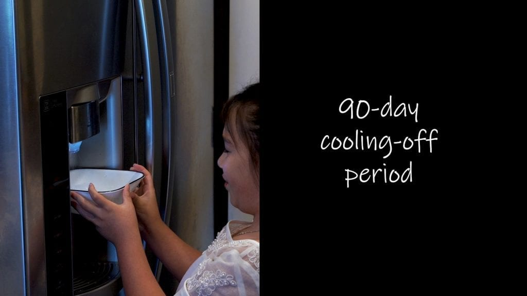 """Divorce laws require people to """"cool off"""" for 90 days before being granted a divorce"""